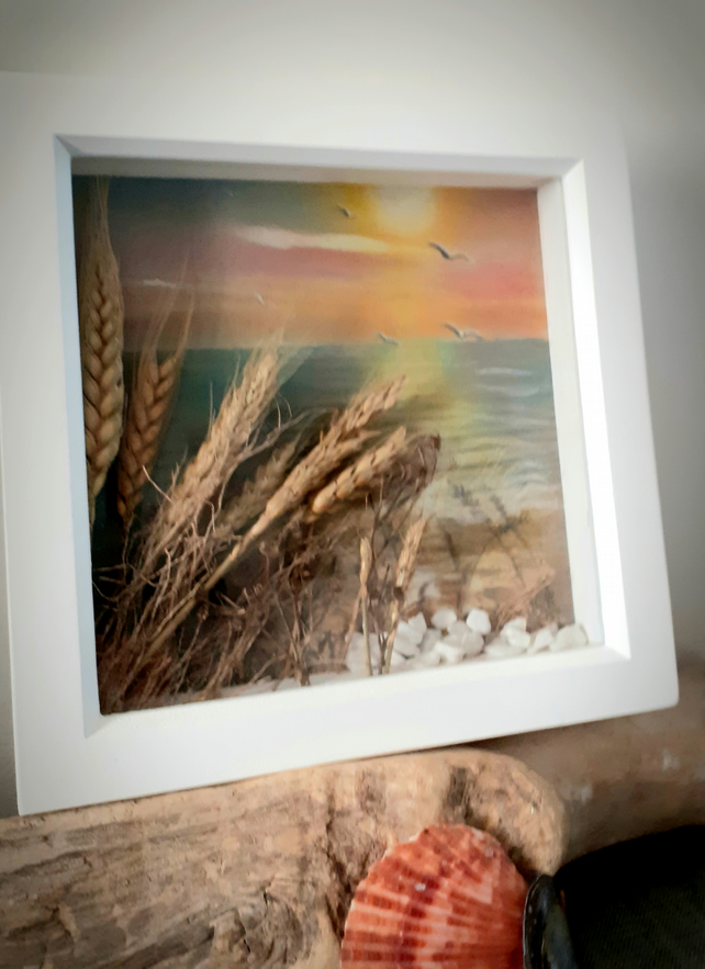 "Framed ""Sunset and Seascape""...pastel drawing embellished with grasses and stone"