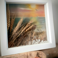 """Sunset and Seascape""...pastel drawing with embellished dried grasses"
