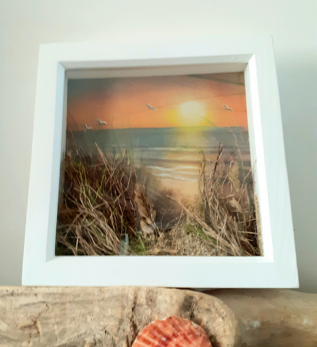 "Framed ""Sunset and Seascape"" pastel painting embellished with grasses and sand"