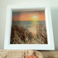 """Sunset and Seascape"" embellished pastel drawing"
