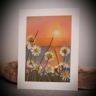 Sunset..Seascape and Daisies ....pastel painting with pressed daisies and grass