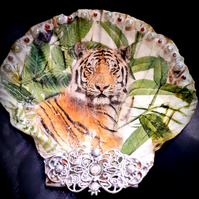 Decoupaged Tiger Scallop Shell Trinket Dish