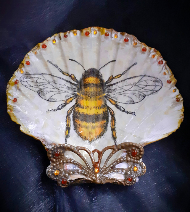 Decoupaged Bumble Bee Scallop Shell Trinket Dish