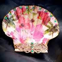 Decoupaged Tropical Flowers Scallop Shell Trinket Dish