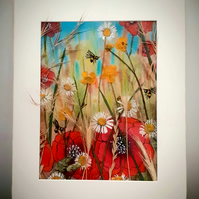"""Meadow"" pastel painting embellished with pressed flower and grasses"