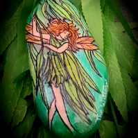 "Handpainted ""The Willow Fairy"" beach rock"