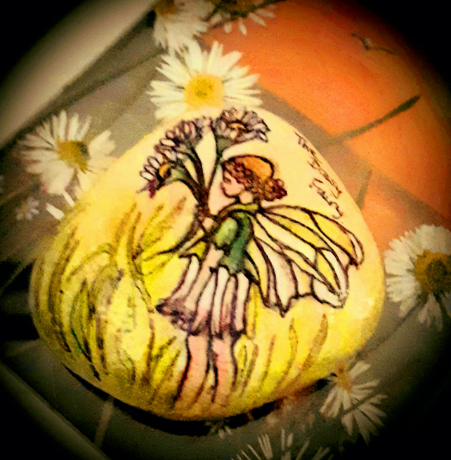 "Hand painted ""The Daisy Fairy"" beach rock"