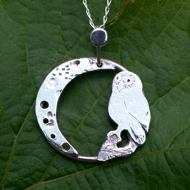 Little owl and waning crescent moon