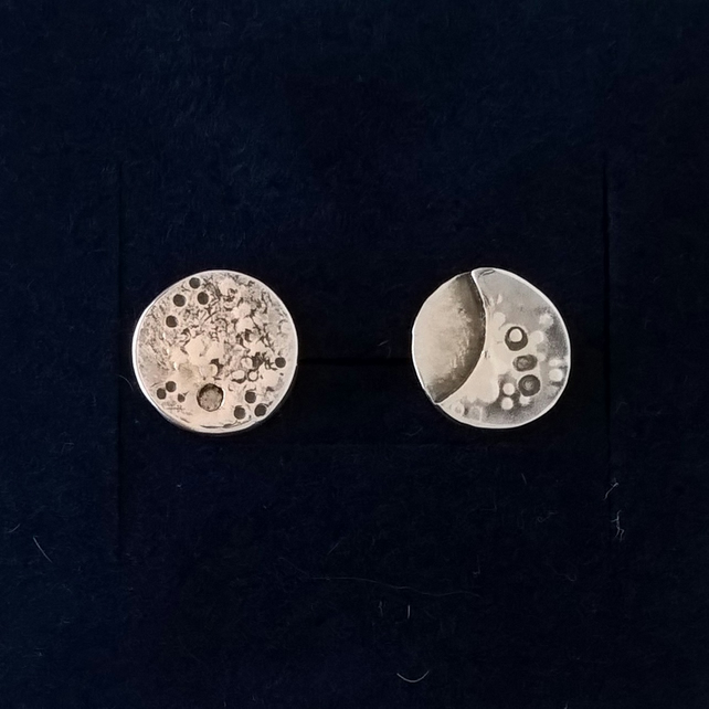 The Full and Crescent Moon - silver stud earrings