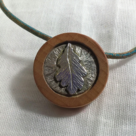 Silver Oak Leaf and Wood Necklace