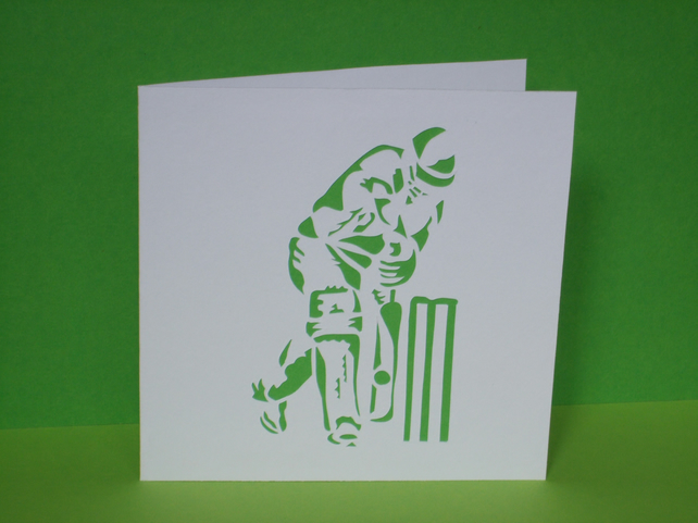 Cricket Card- Hand Cut Cricketer - Perfect for birthday, Father's Day etc...