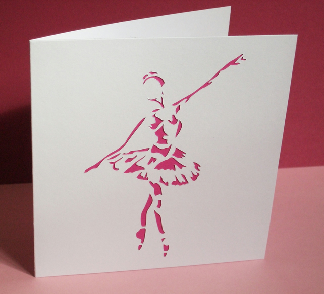 Ballet Card- Beautiful Hand Cut Ballerina