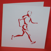 Running Runner Card - Paper Cut