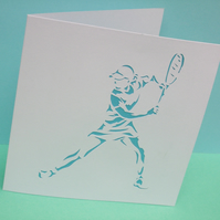 Tennis Card - Hand Cut Tennis Player
