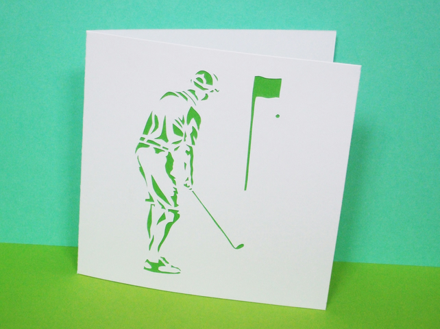 Golf Card - Hand Cut Golfer