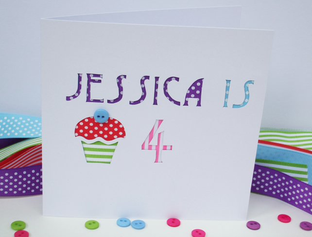 Birthday Card-Personalised Hand Cut Birthday Card with Cupcake