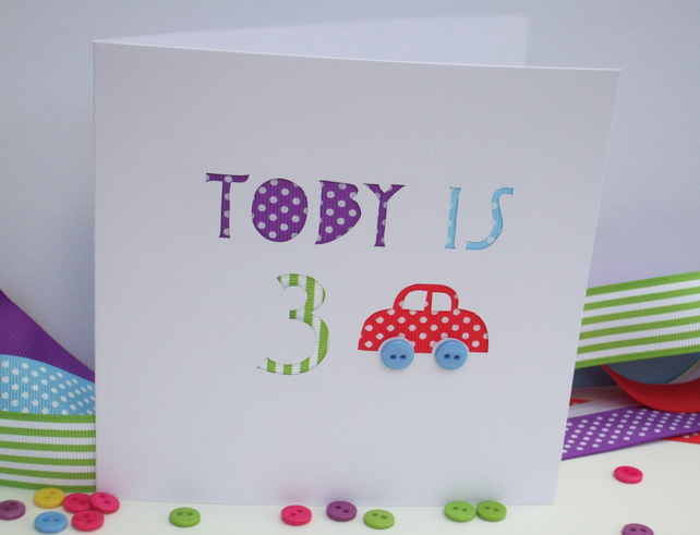 Birthday Card-Personalised Birthday Card - Car with Button Wheels
