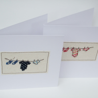 New Baby Boy Card - Machine Embroidered Baby Card