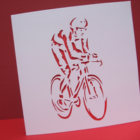 Cycling Card - Hand Cut Cyclist