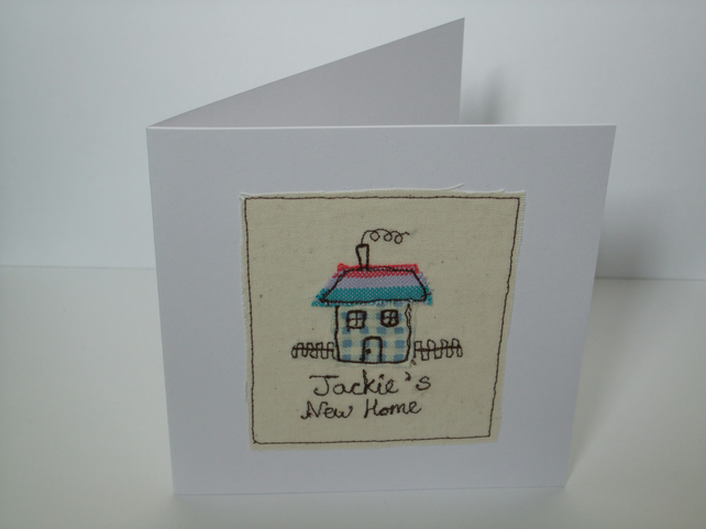 New Home Card - Personalised Machine Embroidered Card