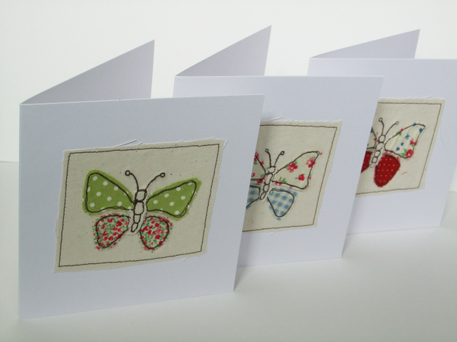 Butterfly Card - Machine Embroidered Butterflies