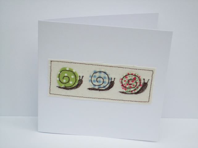 Three little snails card - Machine Embroidered