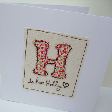 Personalised card for a birthday, christening or new baby - Machine Embroidered