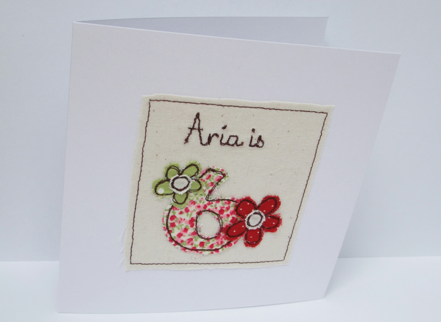Personlised Age Birthday Card for a child - Machine Embroidered Birthday Card