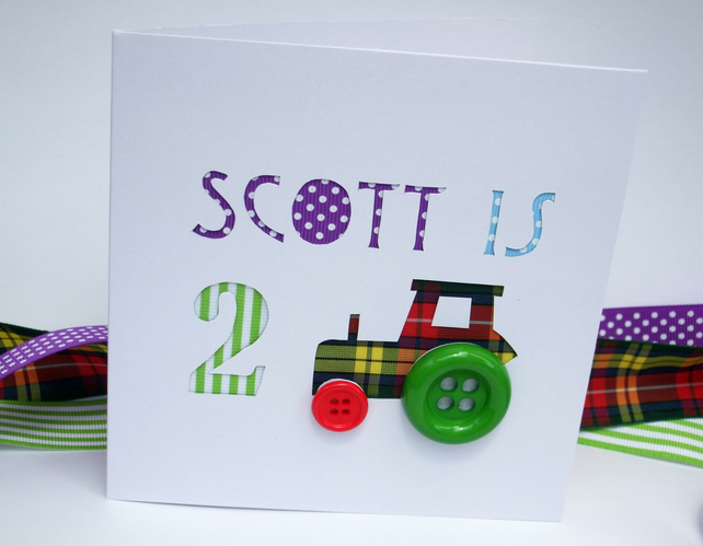 Personalised Tractor Birthday Card for a Child with their Name and Age - Boy