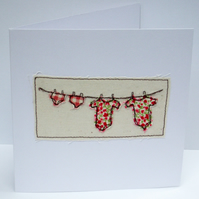 New Baby Twins Card - boys, girls or one of each - Machine Embroidered