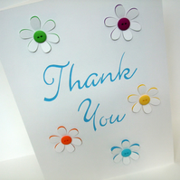 Large Thank you card with Button Flowers