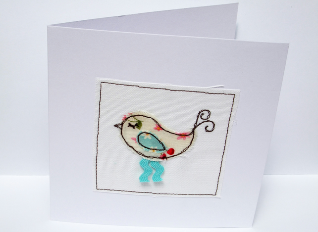 Bird Card - machine embroidered bird