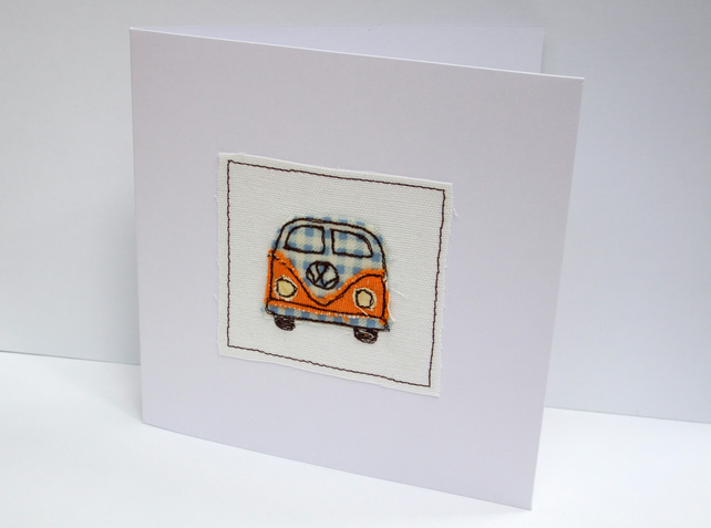 VW Camper Card - Machine Embroidered- Campervan, Camping, Birthday Card