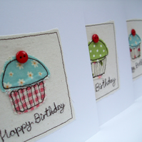 Cupcake Birthday Card - Machine Embroidered Birthday Card