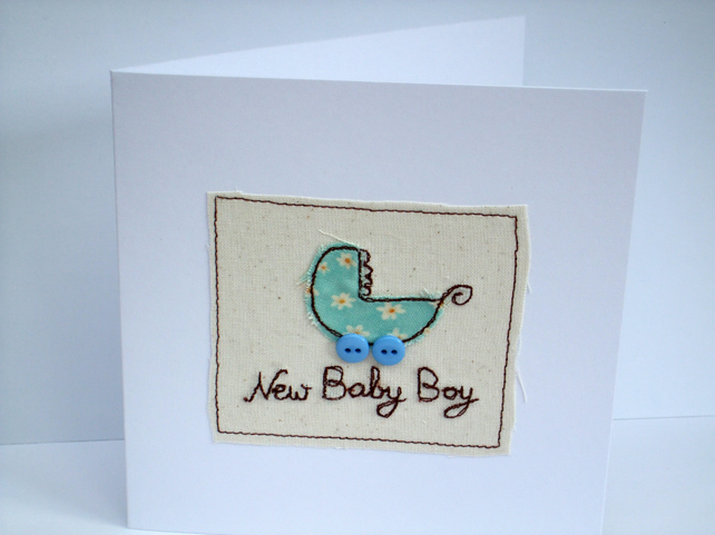 New Baby Boy Card - Embroidered baby pram with button wheels
