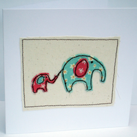 Elephant Card - Cute machine embroidered Elephants
