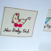 New Baby Girl Card - Embroidered baby pram with button wheels