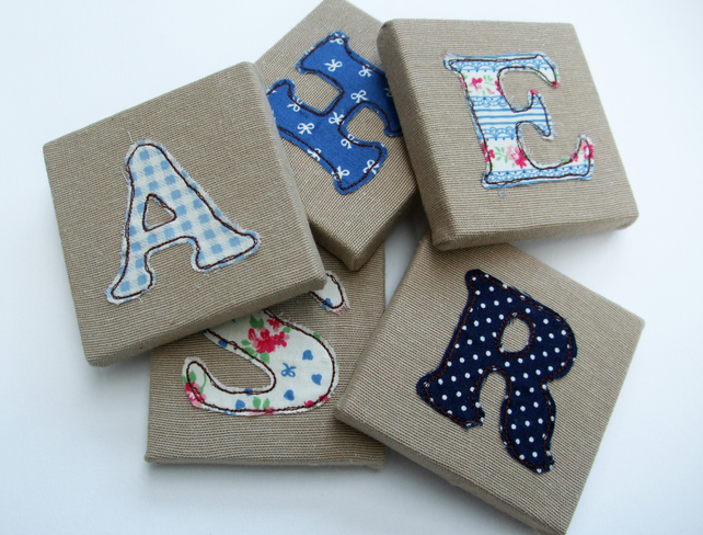 Childrens' Mini Canvas Name Letters - Blue for a boy - Mini Canvas Nursery Decor