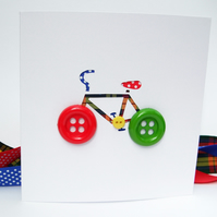 Bicycle Card with Button Wheels - Bike Greeting Card - Cycling Card