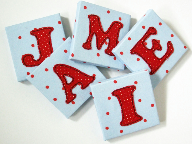 Childrens Name Letters - Mini Canvas Nursery Decor - Kids Door Letters
