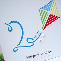 Birthday Card - Paper Cut Kite Birthday Card with Child's Age - Personalised