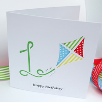 1st Birthday Card - Paper Cut Kite Birthday Card with Child's Age - Personalised
