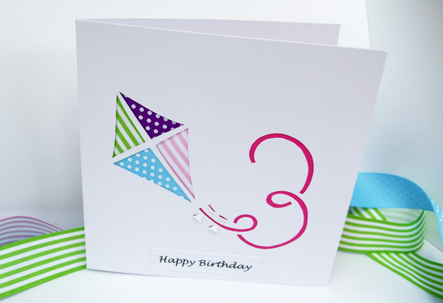 3rd Birthday Card - Paper Cut Kite Birthday Card with Child's Age - Personalised