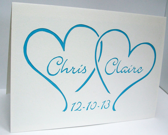 Personalised Wedding Card - Paper Cut Hearts with Bride and Grooms Names