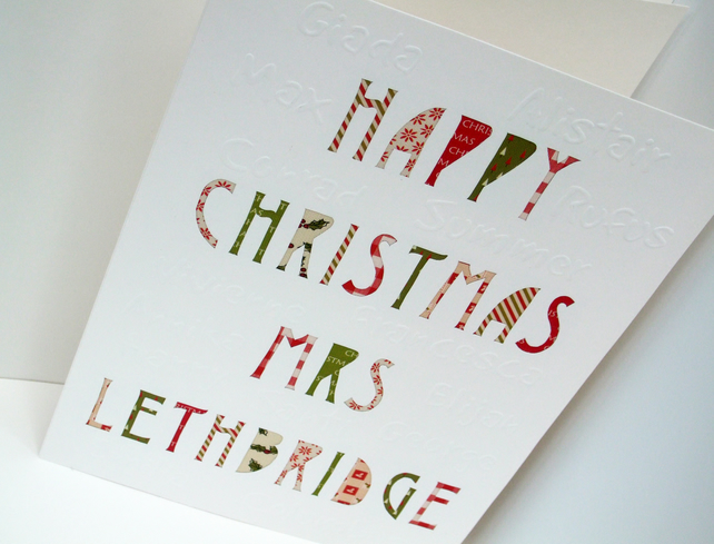 Large Personalised Teachers Christmas Card