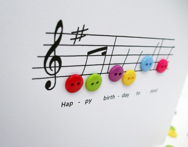 Outstanding Birthday Music Birthday Card Folksy Personalised Birthday Cards Cominlily Jamesorg