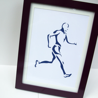 Paper cut Art - Runner Picture, Running Picture, Fitness, Sport, Artwork