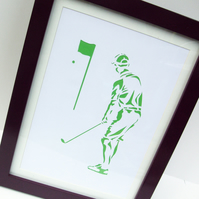 Paper cut Art - Golf Picture, Golfer, Sport, Artwork, Hand cut art - silhouette