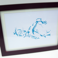 Paper cut Art - Swimming Picture, Swimmer Picture, Sport, Artwork, Hand cut art