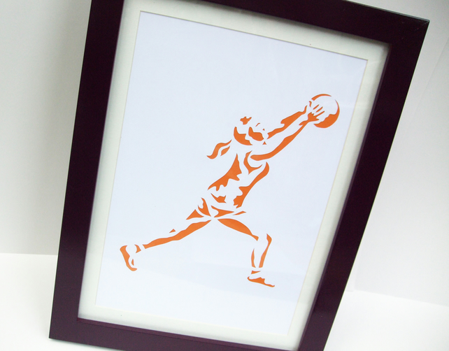 Paper cut Art - Netball Picture, Sport, Artwork, Hand cut art - silhouette